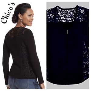 Chico's Ivy Lace Cardigan Sweater Size 3 16  NWOT